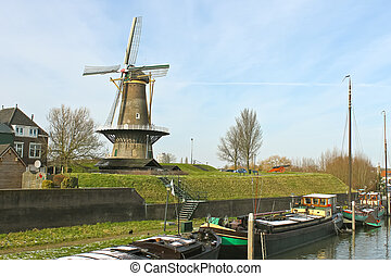 Windmill in the Dutch town of Gorinchem. Netherlands