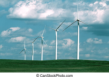 windmill in the field, five windmill with solar plants, renewable resources for the environment