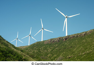 windmill in the field, four windmill with solar plants, renewable resources for the environment
