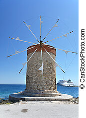 Windmill in the port of Rhodes, Greece
