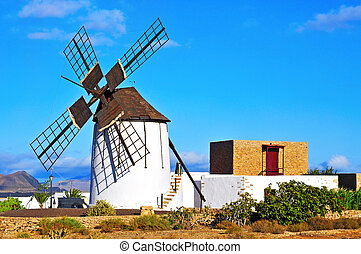 windmill in Tiscamanita, Fuerteventura, Canary Islands, Spain