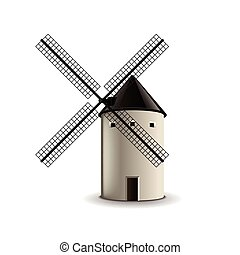 Windmill isolated on white vector