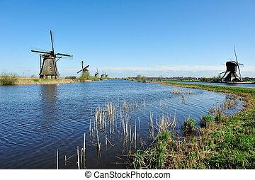 Windmill landscape at Kinderdijk The Netherlands - Windmill...