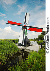 windmill landscape - Beautiful dutch windmill landscape
