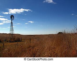 Windmill Landscape - Windmill in rural australia
