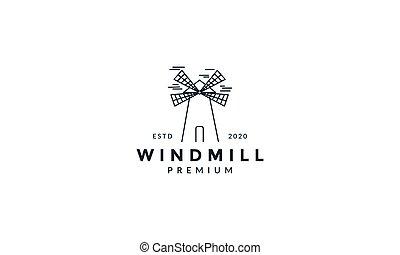 windmill line art outline simple logo vector icon design