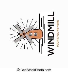 windmill line draw - holland icon - wonder of the world
