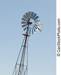 Windmill on cattle station, Fort Collins, Colorado.