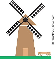 Windmill on the green meadow