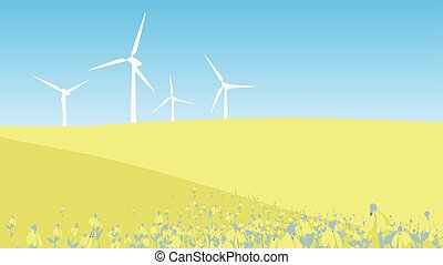 Windmill on the hill with flower field landscape