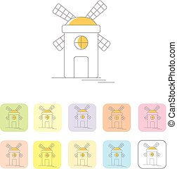 Windmill or mill line icons set with shadow. Vector illustration