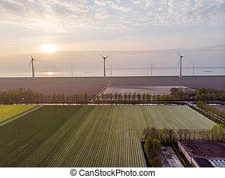 Windmill park green energy in the Netherlands, wind mill turbine generator farm