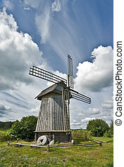 Windmill and picturesque white clouds