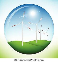 Windmill power generators inside sphere