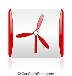 windmill red and white square web glossy icon