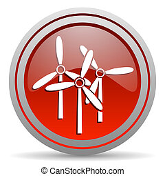 windmill red glossy icon on white background
