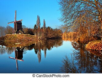 Windmill reflection - A reflection of a windmill in the...