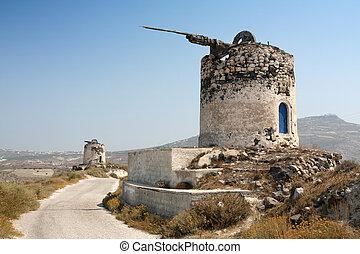 Windmill ruins on Santorini