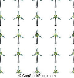 Windmill seamless pattern in cartoon style isolated on white background vector illustration