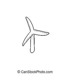 Windmill sketch icon.