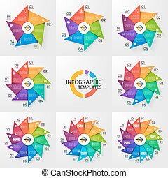Windmill style circle infographic set of templates for graphs, charts, diagrams. Business, education and industry concept with 5-12 options, parts, steps, processes.