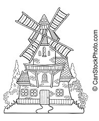 Windmill vector drawing coloring book for adults