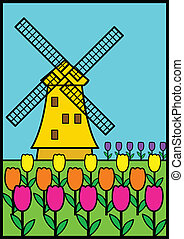 Windmill - Vector illustration of a windmill among tulips