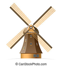 Vector illustration of a windmill