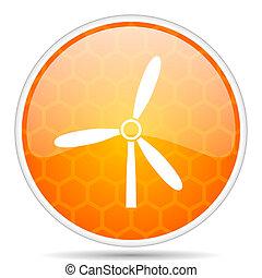Windmill web icon. Round orange glossy internet button for webdesign.
