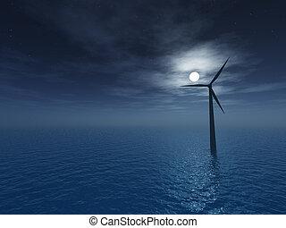 windmill - wind generator at night - 3d illustartion