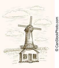 windmill windmill on a background of farmlands