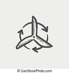 Windmill with arrow sketch icon