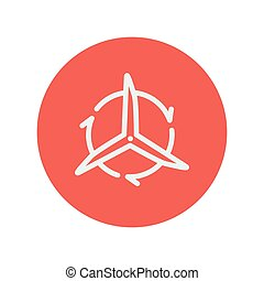 Windmill with arrow thin line icon