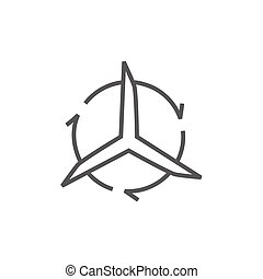 Windmill with arrows line icon.
