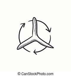 Windmill with arrows sketch icon.