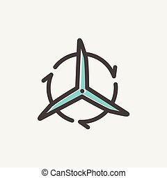 Windmill with arrows thin line icon