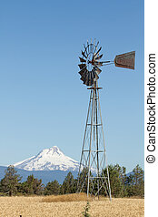Windmill with Mount Jefferson in Central Oregon