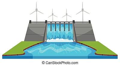 Windmills and dam with streams