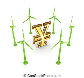 Windmills around yen symbol.