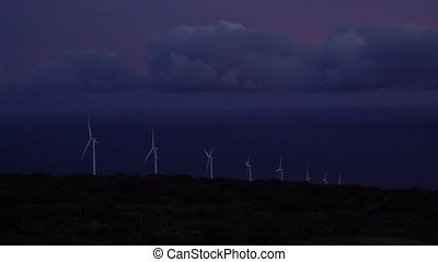 Windmills at Dusk in Hawaii