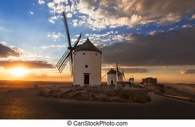 Windmills at sunset, Consuegra, Castile-La Mancha, Spain