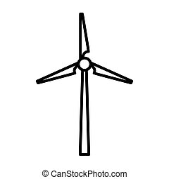windmills clean energy thin line icon