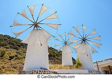 Windmills. Crete, Greece