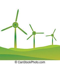 windmills - illustration of windmills