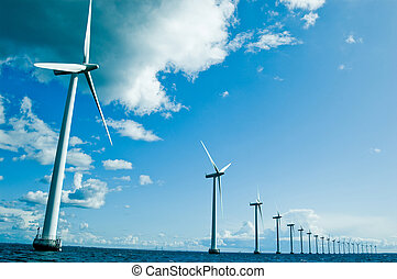 Windmills in a row horizontal, denamrk, baltic sea, wide angle