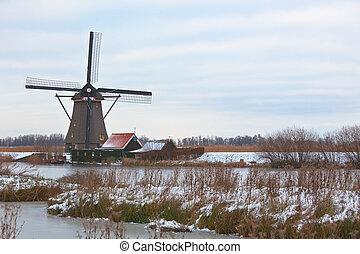 windmills in Kinderdijk at winter