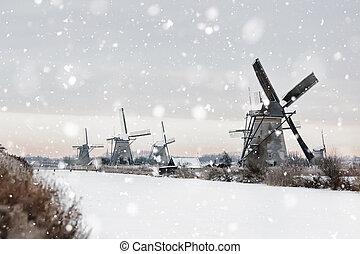 Windmills in Kinderdijk, The Netherlands in winter