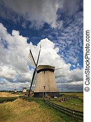 windmills in landscape