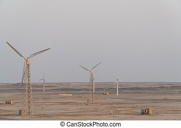 Windmills in the desert. Wind power