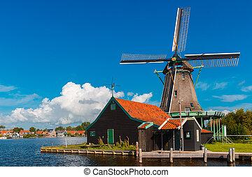 Windmills in Zaanse Schans, Holland, Netherlands -...